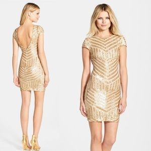 Dress The Population Tabatha Gold Sequin Dress